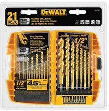 New DeWalt Titanium Drill Bit Tool Set 21 Pack High Speed For Metal  Wood