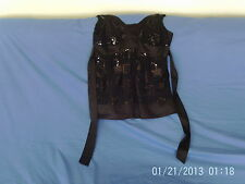 Womens Size 14 Petite - Black Sequinned Sleeveless Evening Top - Debenhams