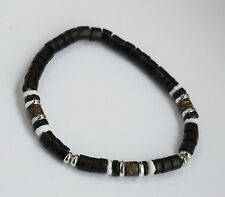 Beach Surf Bracelet Black Wooden Beads White Shell Silver Tone Spacers Stretchy