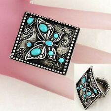 Antiqued Butterfly Themed Ring Womens Size 8 to 11 Stretch with Blue Stones