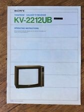 Operating Instruction Manual for Sony KV-2212UB Television Receiver