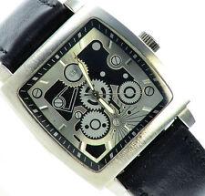 Herrenuhr Armbanduhr Schwarz Silber Klassisches Skelett Design Herren Uhr