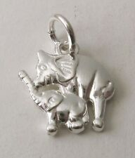 GENUINE SOLID 925 STERLING SILVER 3D MOTHER and BABY ELEPHANT Charm/Pendant