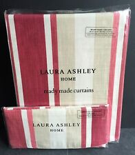 """New Laura Ashley Curtains Awning Stripe Pale Cranberry 64"""" X 54"""" / 162 x 137 Red"""