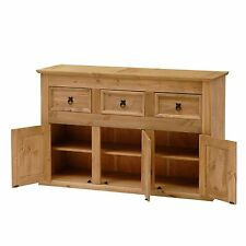 Solid Wood Sideboard 3 Cupboards Drawers Home Large Wooden Storage Cabinet Unit