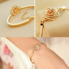 Special Women Crystal Rose Flower Bangle Gold Filled Cuff Chain Bracelet    ST