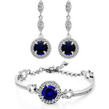 Sapphire Dark Blue Zircon Jewellery Set Drop Earrings & Bracelet Wedding S872