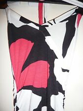 River Island white, black and pink halterneck asymmetric cocktail dress. Size 8