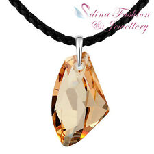 Leather Chain With Genuine Swarovski Crystal Pendant Fashion Long Necklace