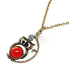 Vintage Stil Rot Bauch Bronze Eule Anhänger Schick Halskette Lang Kristall