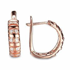 5mm Fabulous18ct Rose Gold Plated Solid Sterling Silver Diamond Hoop Earrings