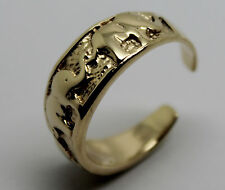 375 9CT SOLID YELLOW GOLD LUCKY ELEPHANT TOE RING 209 *FREE EXPRESS POST IN OZ*