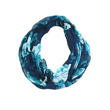 Jendi Navy Blue Green & White Ladies Lightweight Fashion Snood Infinity Scarf