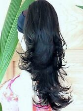 Reversible Jet Black Pony Tail Clip In Hair Extension