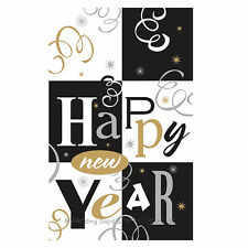 Happy New Year Plastic Tablecover Tablecloth Black Silver Gold Party Decoration