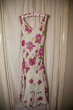 White Pink & Green Floral Cotton M&S Per Una Long Dress in Size 8 L - Tall