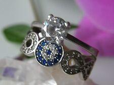Designer Ring 925° Silber blau / weiß Zirkonias Unendlichkeit Gr. 57 1990 R397