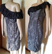 GEORGE GROSS Size 10 Grey Ruched Ruffle Event Dress