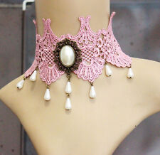 Victorian Lace Collar Choker Necklace Women Gothic Pink oval Pearl Chain
