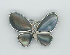 THAILAND STERLING SILVER ABALONE & HEMATITE STONES BUTTERFLY BROOCH 925  6330