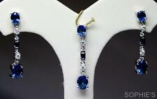 2CT Natural Blue Sapphire & Diamond Earrings Pendant Set In Solid 14K White Gold