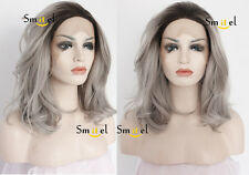 Ash Fashion Synthetic Lace Front Wigs Short Bob Grey Wavy Heat Resistant Women