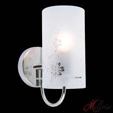 Wandlampe Wandleuchte Flurlampe Glas Blumen Muster Chrom Weiss Lampe Leuchte E27