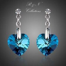 The Heart of the Ocean Platinum Plated Blue Swarovski Crystal Drop Earrings E171