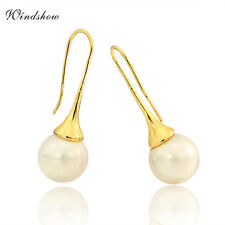 Fashion 18K Gold Filled Faux Pearl Hook Drop Dangle Earring Womens Jewellery