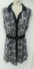 BNWT H&M Ladies Size 10 Black White Grey Tunic Top Sleeveless Brand New Holiday