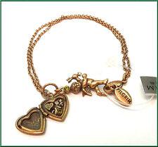 NEW PILGRIM GOLD BRACELET SWAROVSKI CRYSTALS CHARM HEART LOCKET WOMEN'S JEWELRY