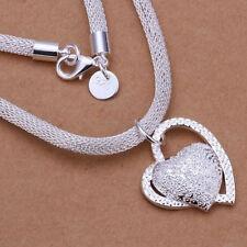 Mode Silber Doppel Herz Halskette Halsreif Damen Mädchen Schmuck