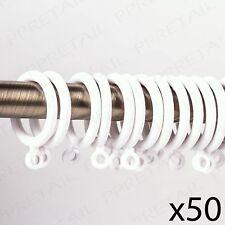50 x White Curtain Rail Rings 28mm Inner Diameter Drapes Hang Hoop/Loop Rod/Pole