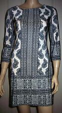 ATMOSPHERE Black Cream Paisley Print 3/4 Sleeve Crew Neck Party Dress Size 8