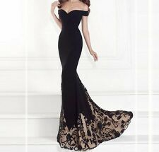 Women Long Chiffon Formal Lace Party Cocktail Evening Prom Wedding maxi Dress 5