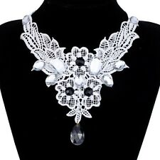 Victorian Bead Crystal Pendant Choker Collar White Lace Women Jewelry Necklace