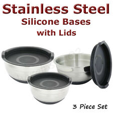 Stainless Steel Mixing Bowls with Silicone Bases & Lids, Set of 3, Black - New