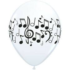 """**QUALATEX**  Pack of 12 - 11"""" Round White Musical Notes Latex Balloons!"""