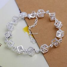 Women 925 Sterling Silver Plated Charm Box Crystal Chain Fashion Bracelet Bangle