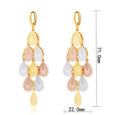 Womens Multi-Tone Drop Dangle Earrings Gold Filled Fashion Earrings Jewelry