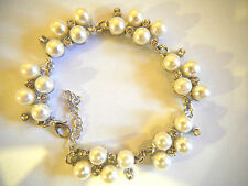 STUNNING SILVER PLATED BRACELET WITH C/Z AND PEARLS  0022
