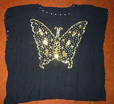 Exklusives Top Gr.44/46 - prächtiges Pailettenmotiv Schmetterling - schwarz-gold