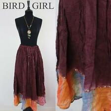 HIPPY CHIC 1980S VINTAGE PURPLE CHEESECLOTH COTTON INDIAN BOHO FESTIVAL SKIRT M