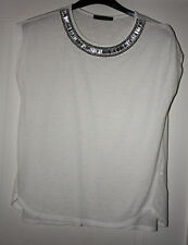 LADIES ATMOSPHERE SIZE 14 WHITE TOP WITH DECORATED NECK USED