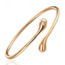 Women New Fashion 18K Yellow Gold Filled Golden Open Bangle Bracelet Jewelry