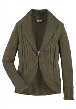 Warme Strickjacke Cardigan Short ,Hüftlang FLASHLIGHTS  Khaki - Gr.40/42 - NEU
