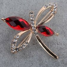 Gold Plated Red Crystal Garnet Butterfly Brooch pin wedding party women Jewelry