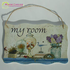 Shabby Chic Hanging Wooden Wall Door Sign - My Room - NEW