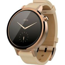 MOTOROLA MOTO360 2nd Gen Leather Rose Gold 42mm iOS Android WOMEN Smartwatches