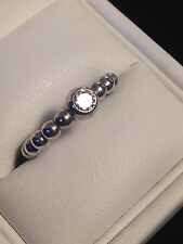 Gorgeous 925 Silver ESPRIT RING Ball Shaped Band with feature CZ Stone Size 8
